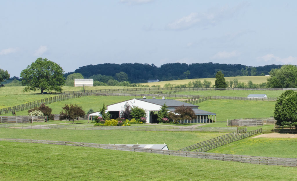 barn with gardens and green pastures