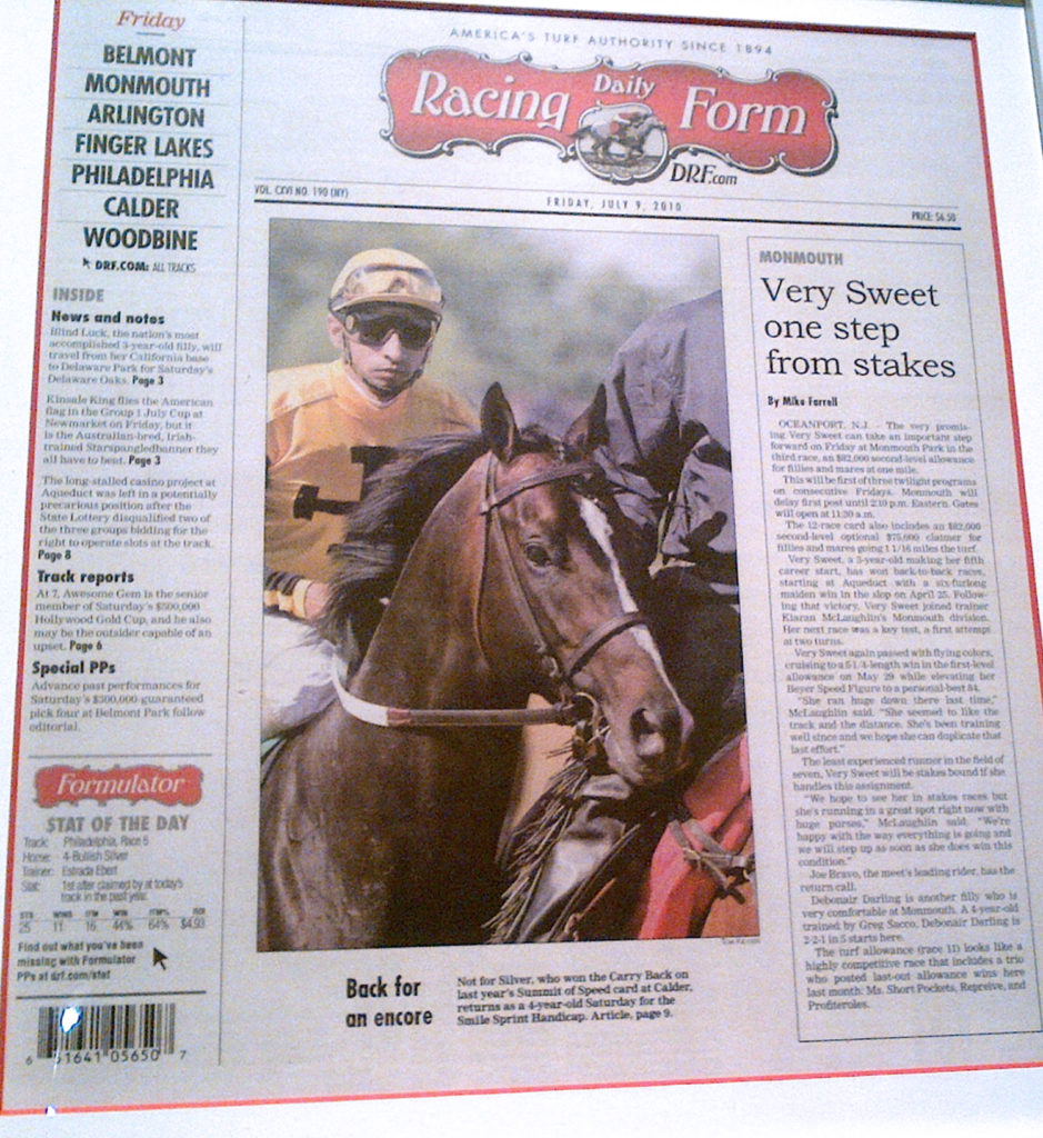 racing form article about the horse not for silver